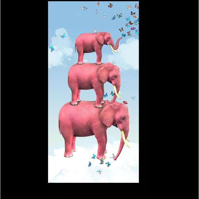Модульная картина Три розовых слона на облаке