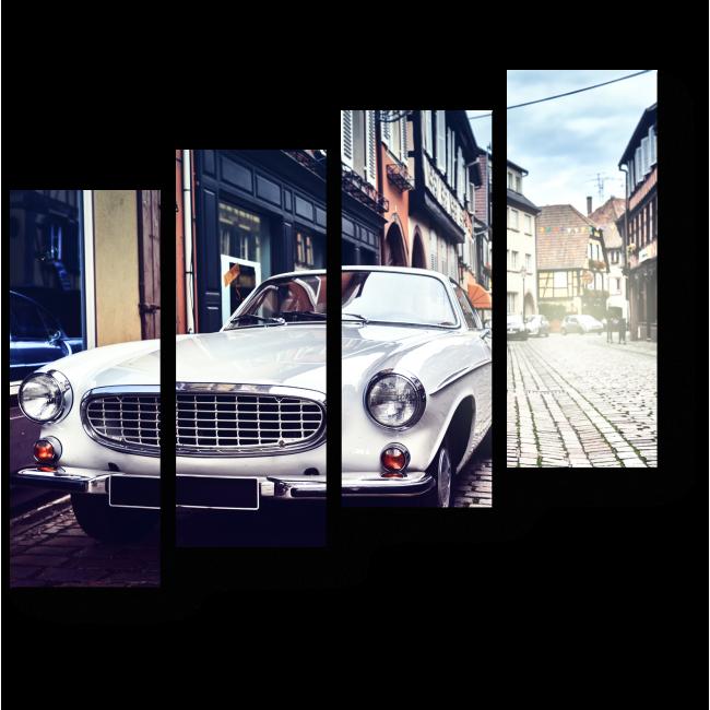 Модульная картина Ретро-автомобиль на фоне городского пейзажа