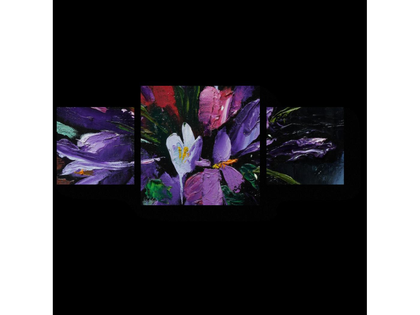 Модульная картина Прекрасный букет подснежников, масло (70x30) фото