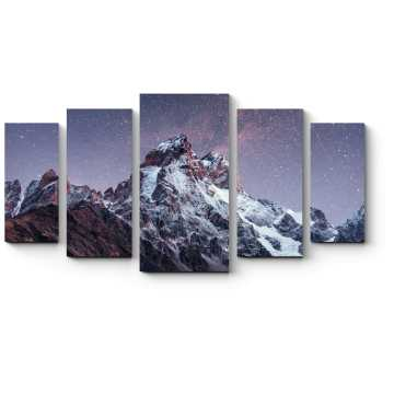 Модульная картина Заснеженные вершины под фантастическим звездным небом