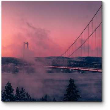 Морозный день около моста