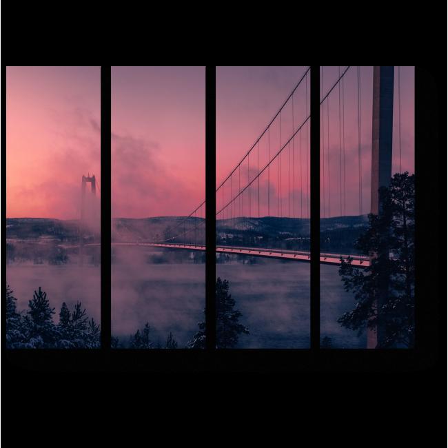 Модульная картина Морозный день около моста