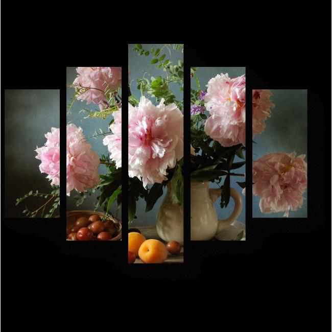 Модульная картина Натюрморт из пионов и фруктов
