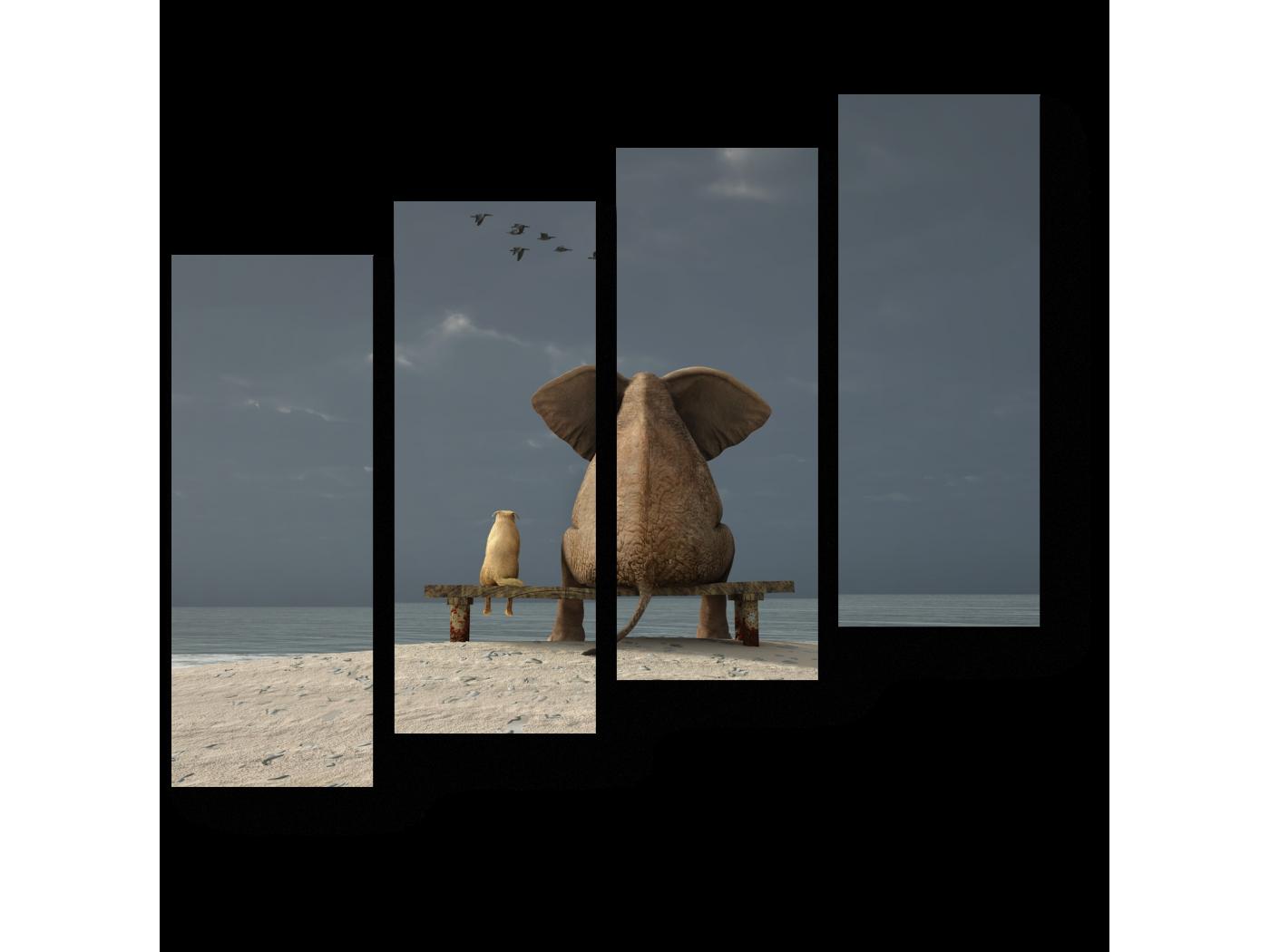 Модульная картина Встреча старых друзей (80x69) фото