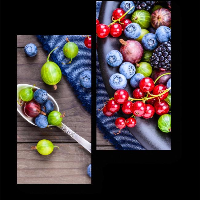 Модульная картина Россыпь сочных ягод