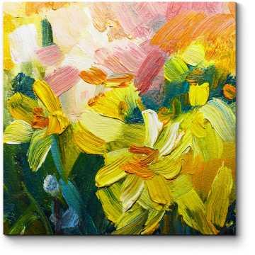 Модульная картина Цветы, масло