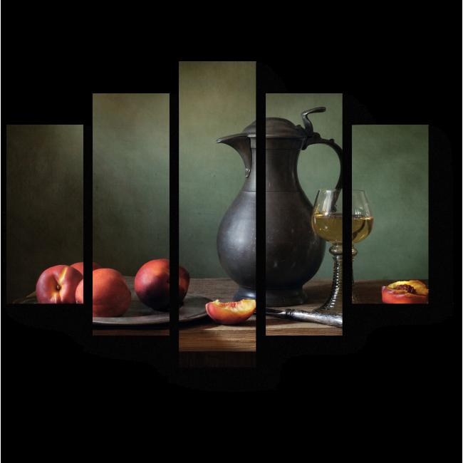 Модульная картина Персики и вино