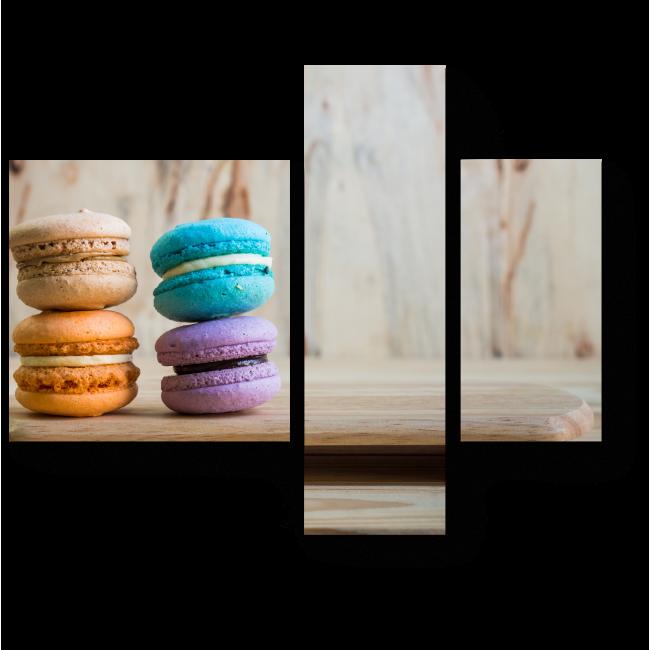 Модульная картина Разноцветные пирожные