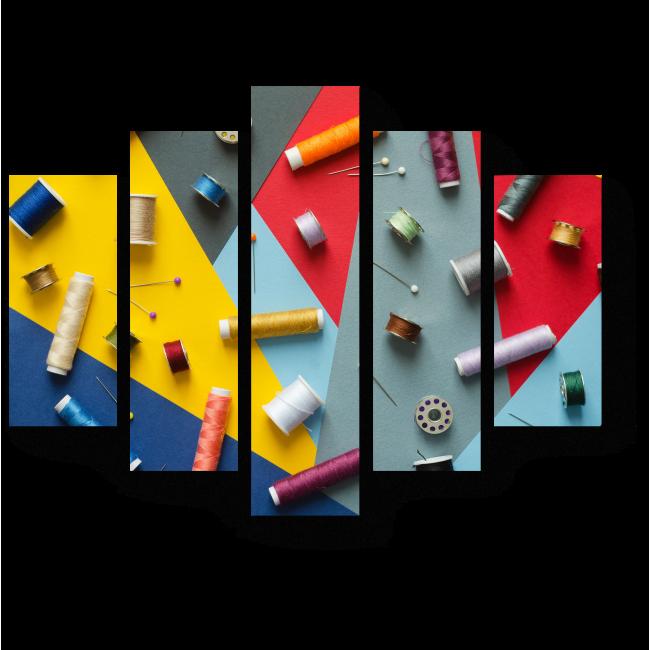 Модульная картина Разноцветные нитки