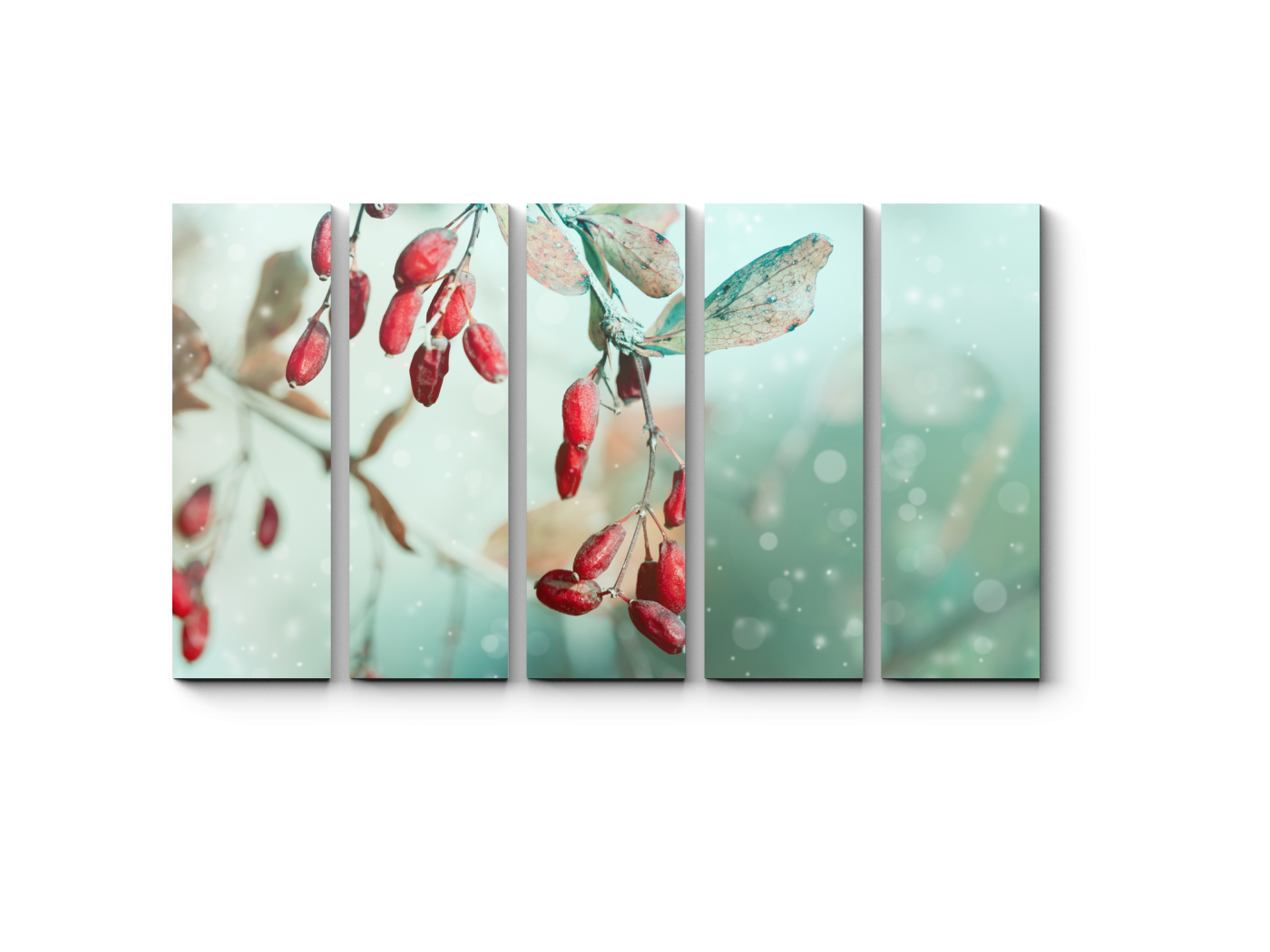 Модульная картина Красные ягоды, припорошенные снежком (90x54) фото