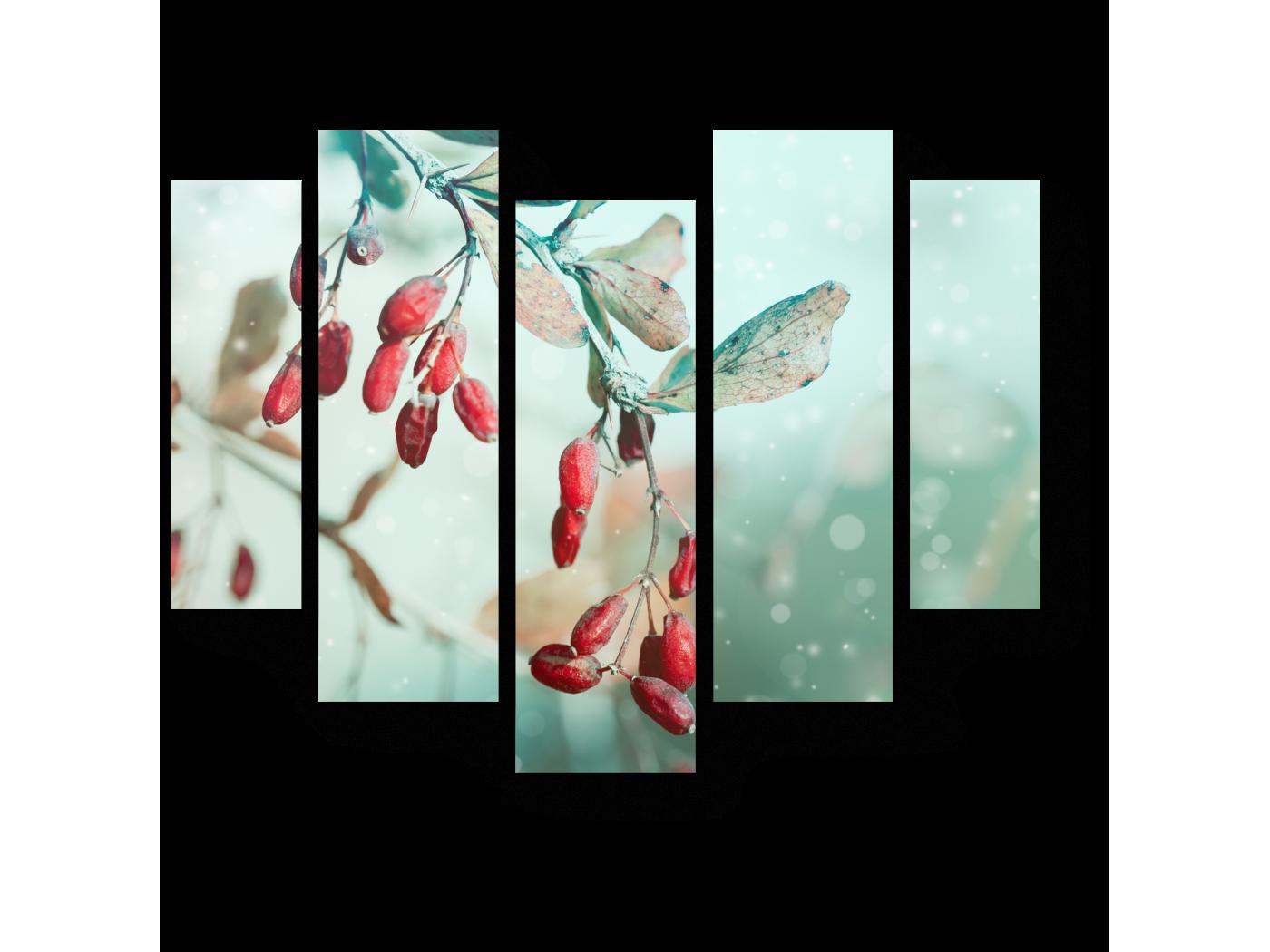 Модульная картина Красные ягоды, припорошенные снежком (101x82) фото