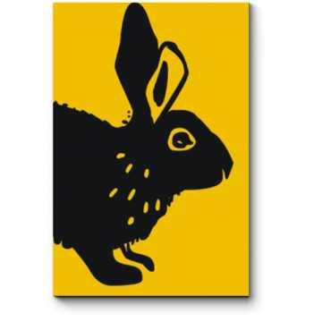 Модульная картина Черный арт заяц на желтом фоне
