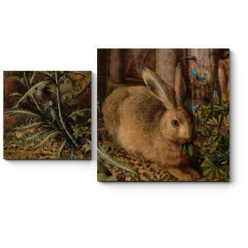 Модульная картина Заяц в лесу, Ханс Хоффман