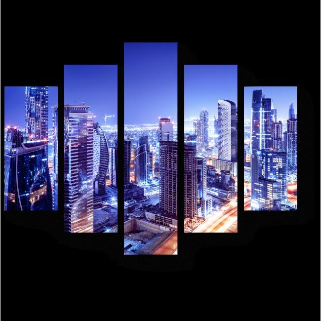 Модульная картина Дубай в сиянии ночных огней