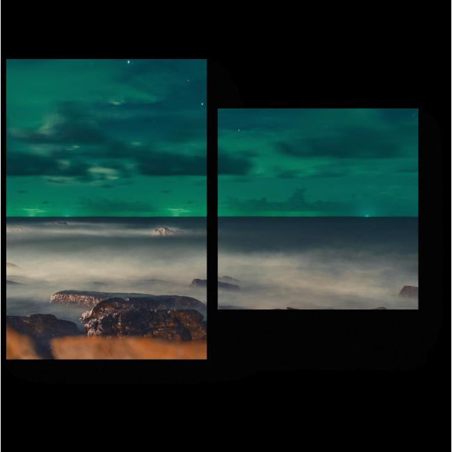 Модульная картина Изумрудное небо