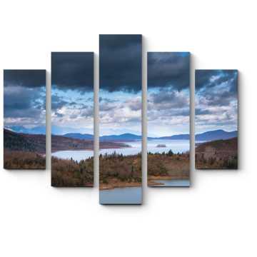 Модульная картина Пейзаж в оттенках голубого