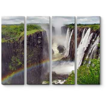 Модульная картина Радуга над водопадом