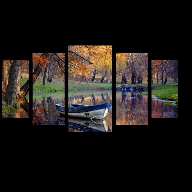 Модульная картина Лодка в осеннем парке