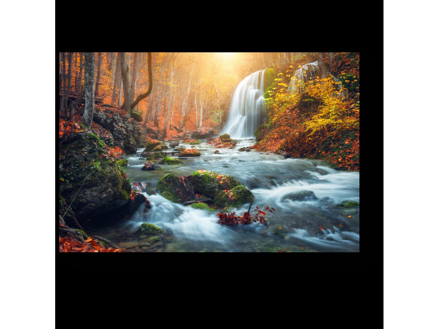 Модульная картина Прекрасный осенний водопад (30x20) фото