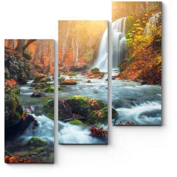 Модульная картина Прекрасный осенний водопад