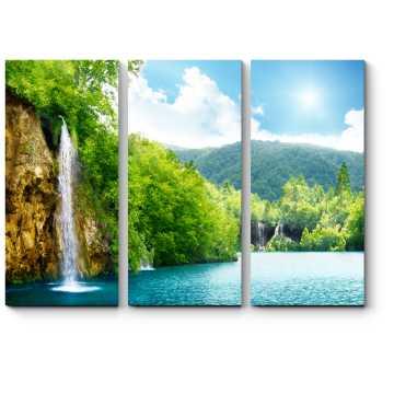 Модульная картина Водопад в лесах Хорватии