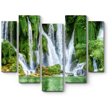 Модульная картина Водопад Кравице