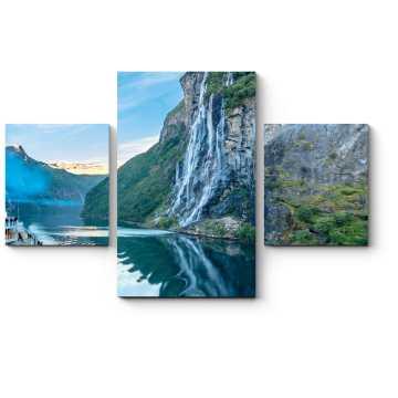 Модульная картина Водопад 7 сестер в норвежских фьордах