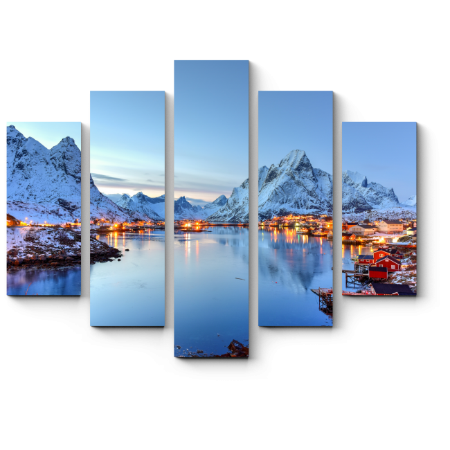 Модульная картина Зима на Лофотенских островах