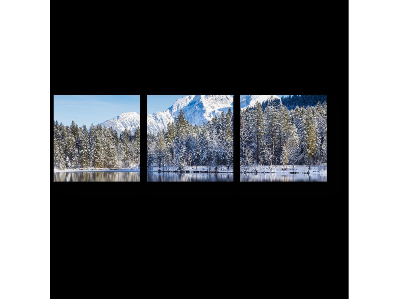 Модульная картина Красота горного озера (60x20) фото