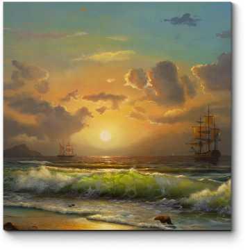 Корабли в заходящем солнце