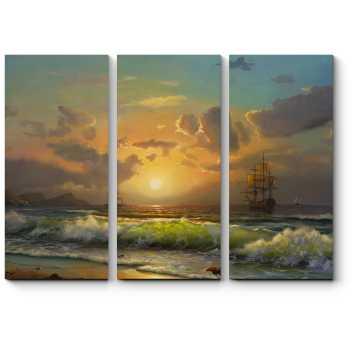 Модульная картина Корабли в заходящем солнце