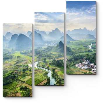 Модульная картина Китайская провинция с высоты птичьего полета