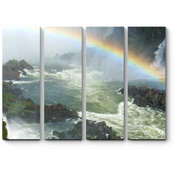 Модульная картина Радуга над бурлящей рекой