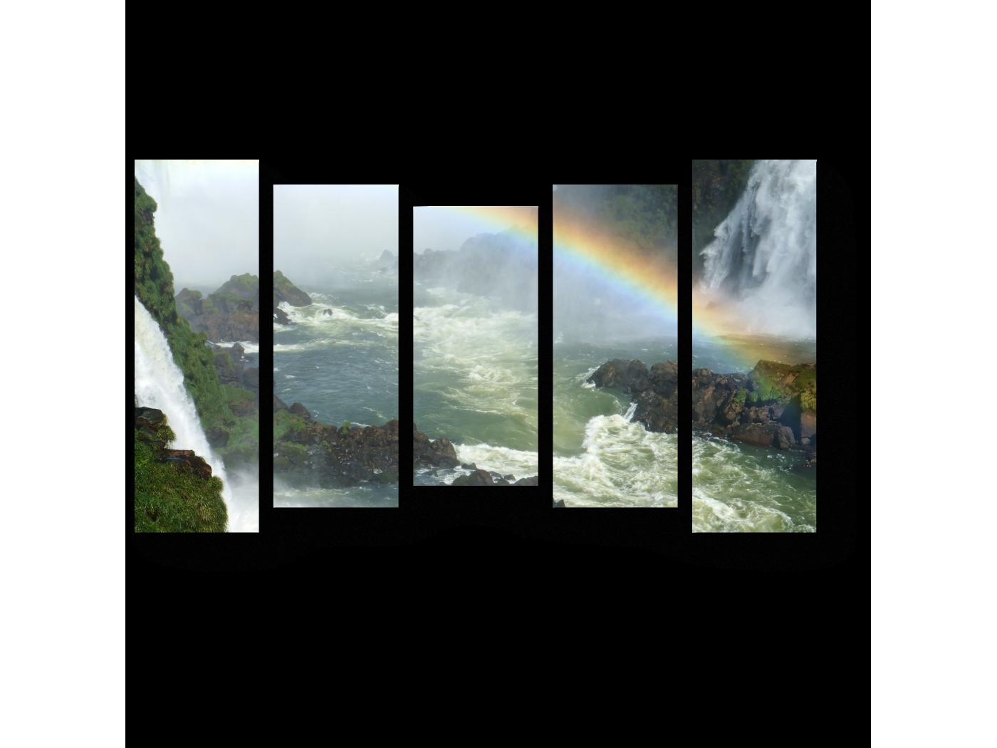 Модульная картина Радуга над бурлящей рекой (90x54) фото