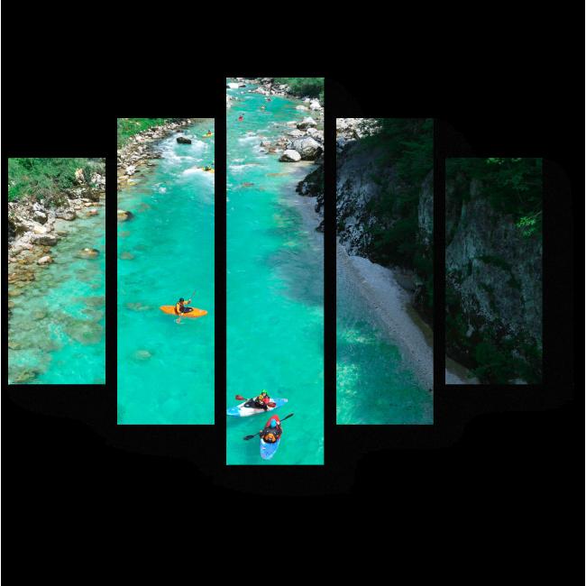 Модульная картина Рафтинг по лазурной реке