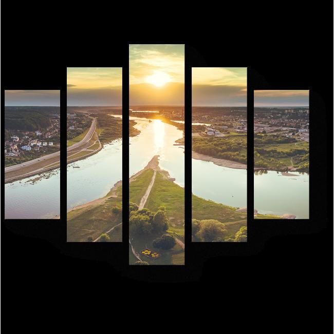 Модульная картина Слияние двух рек