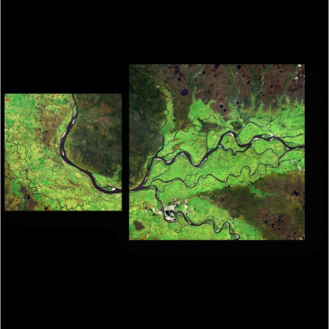 Модульная картина Карта рек