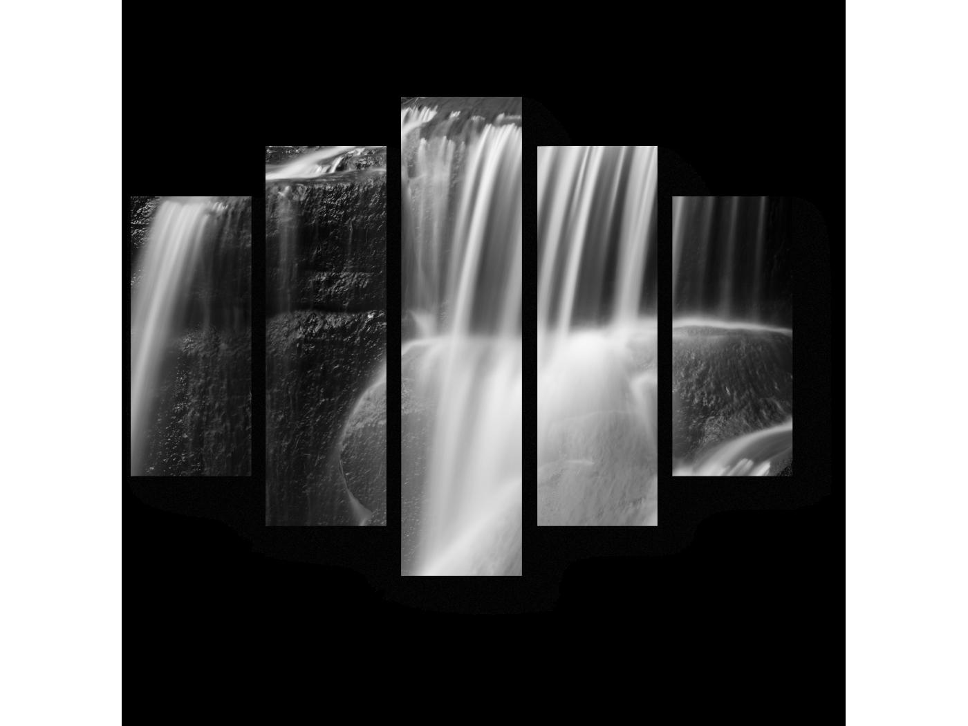 Модульная картина Монохромный водопад (75x60) фото