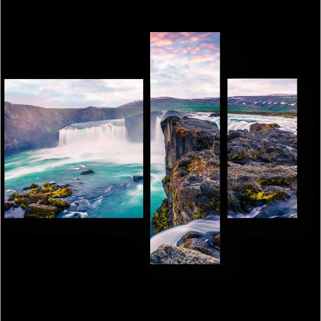 Модульная картина Радужный рассвет над водопадом Годафосс