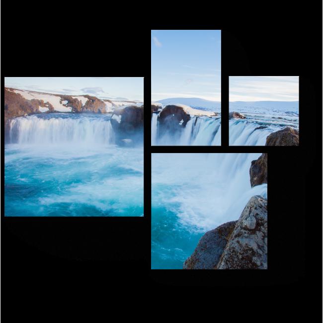 Модульная картина Знаменитый водопад Годафосс, Исландия