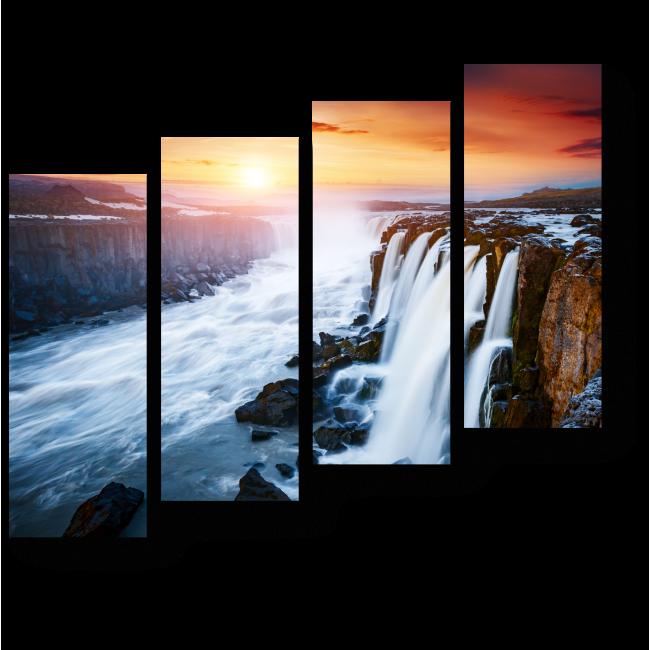 Модульная картина Красивейший водопад Сельфосс, Исландия