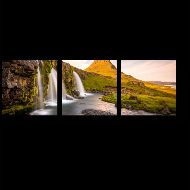 Модульная картина Гора Киркюфель и ниспадающие водопады