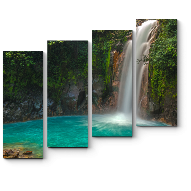 Модульная картина Лазурь вод затерянного водопада, Коста Рика