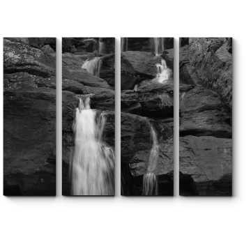 Модульная картина Черный камень, белая вода