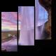 Красивый закат на водопаде