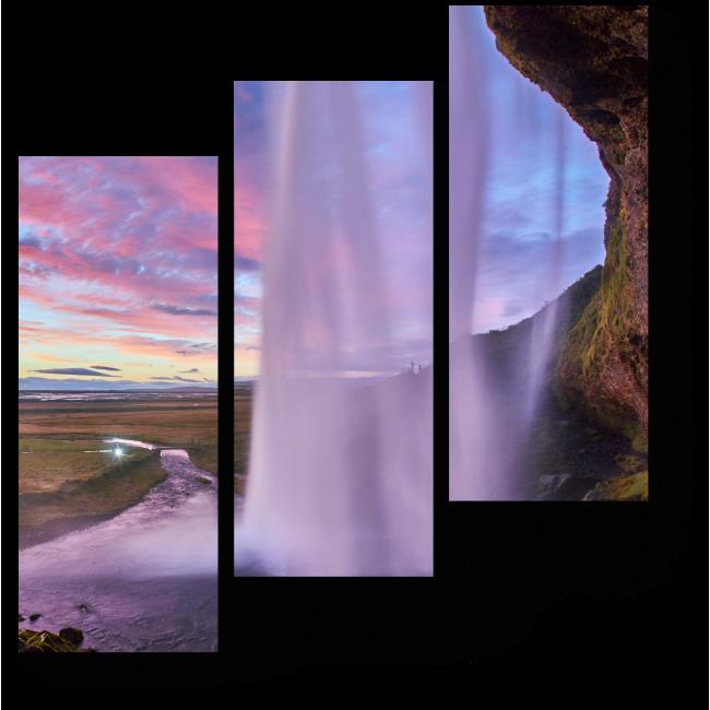 Модульная картина Красивый закат на водопаде