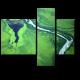 Зеленые поля и река с высоты птичьего полета