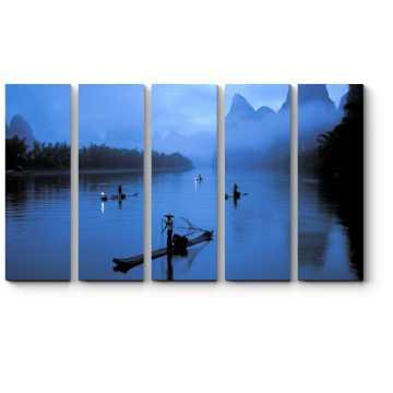 Модульная картина Туман над рекой