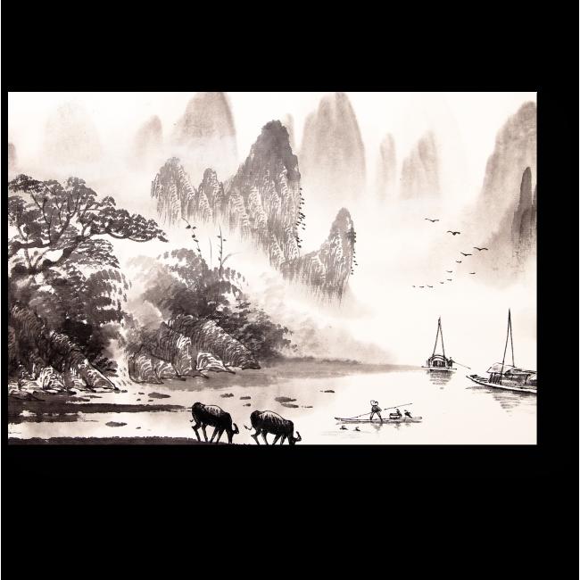 Модульная картина Пейзажная акварельная живопись