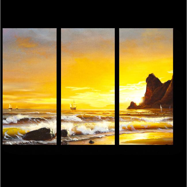 Модульная картина Парусник на фоне морского заката